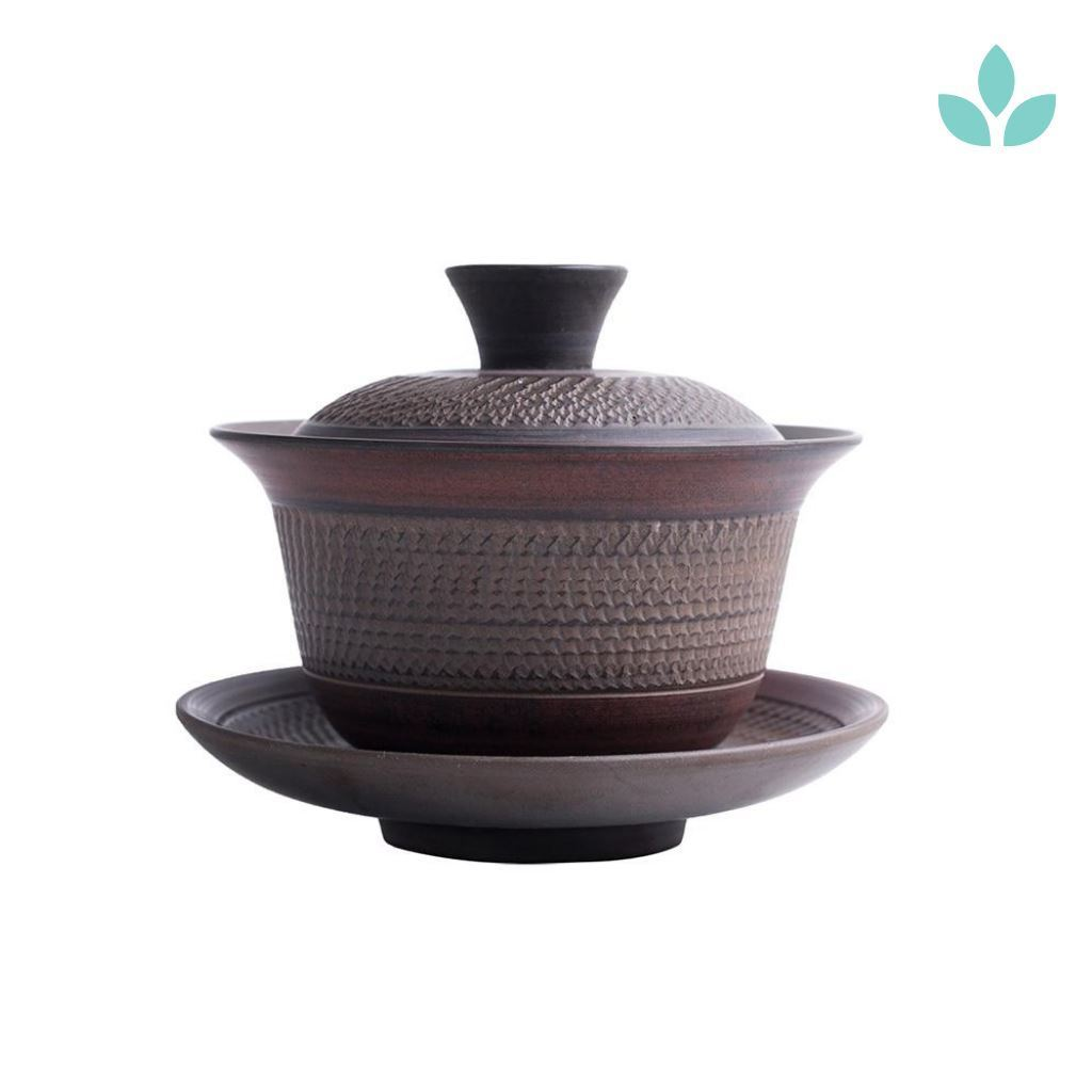 Neutral Textured Traditional Gongfu Ceremony Tea Brewer and Saucer