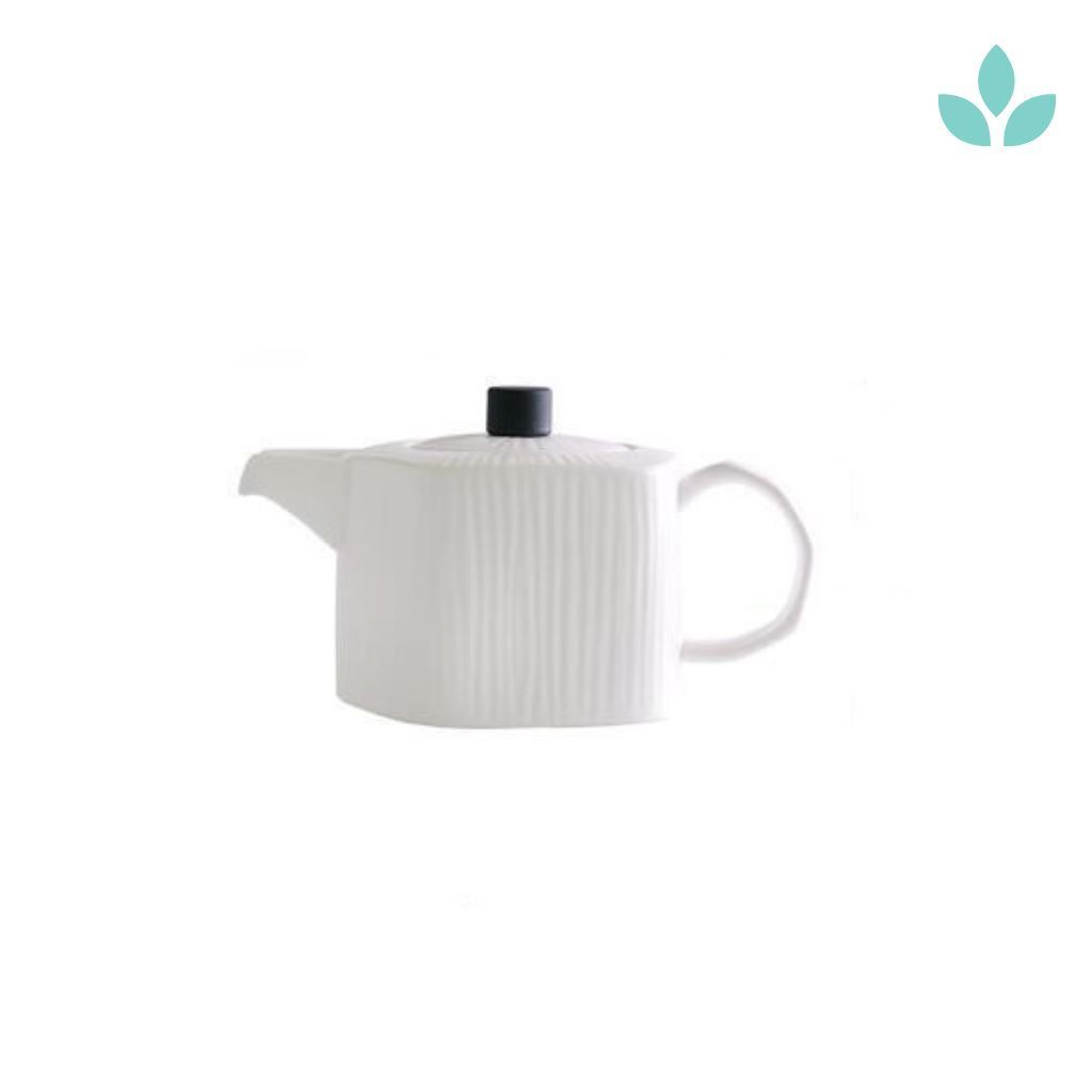 Nordic Style White Lined Ceramic Teapot