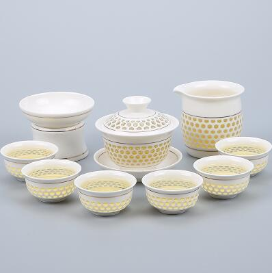 Porcelain Gaiwan Tea Set with See-Through Pattern-Style T-TopicTea