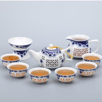 Porcelain Gaiwan Tea Set with See-Through Pattern-Style R-TopicTea