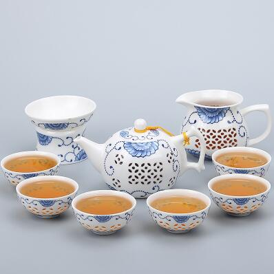 Porcelain Gaiwan Tea Set with See-Through Pattern-Style S-TopicTea
