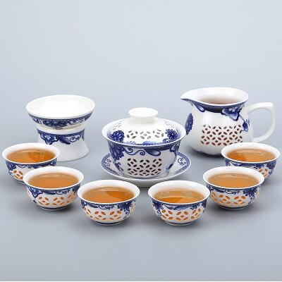 Porcelain Gaiwan Tea Set with See-Through Pattern-Style H-TopicTea