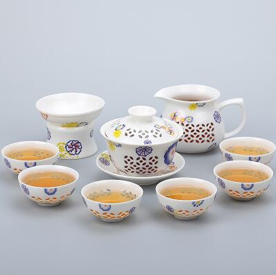 Porcelain Gaiwan Tea Set with See-Through Pattern-Style G-TopicTea