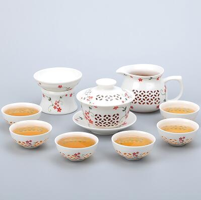 Porcelain Gaiwan Tea Set with See-Through Pattern-Style D-TopicTea