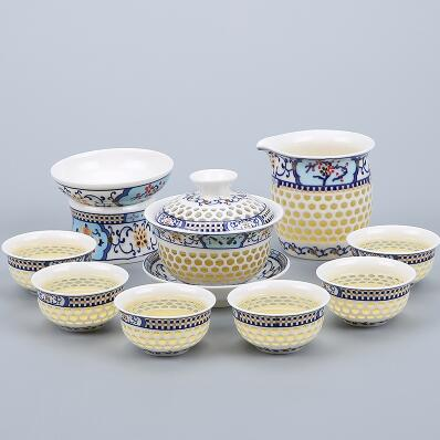 Porcelain Gaiwan Tea Set with See-Through Pattern-Style C-TopicTea