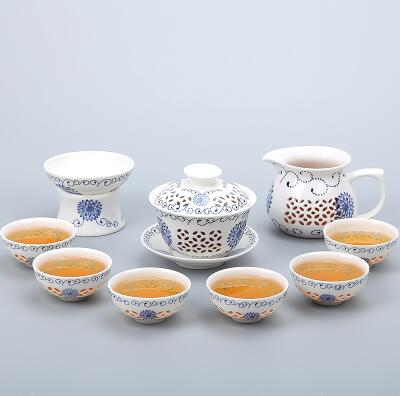Porcelain Gaiwan Tea Set with See-Through Pattern-Style E-TopicTea