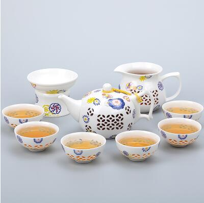 Porcelain Gaiwan Tea Set with See-Through Pattern-Style O-TopicTea