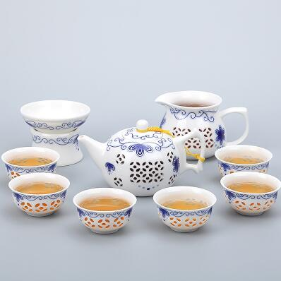 Porcelain Gaiwan Tea Set with See-Through Pattern-Style N-TopicTea