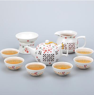 Porcelain Gaiwan Tea Set with See-Through Pattern-Style K-TopicTea