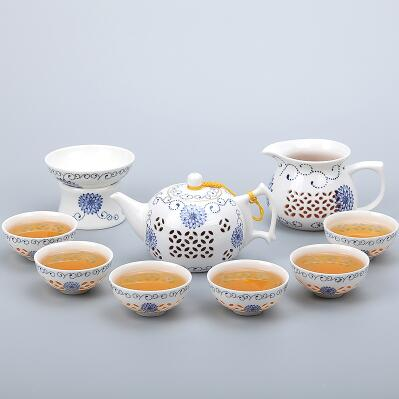 Porcelain Gaiwan Tea Set with See-Through Pattern-Style M-TopicTea