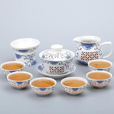 Porcelain Gaiwan Tea Set with See-Through Pattern-Style J-TopicTea
