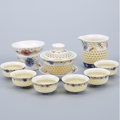 Porcelain Gaiwan Tea Set with See-Through Pattern-Style A-TopicTea