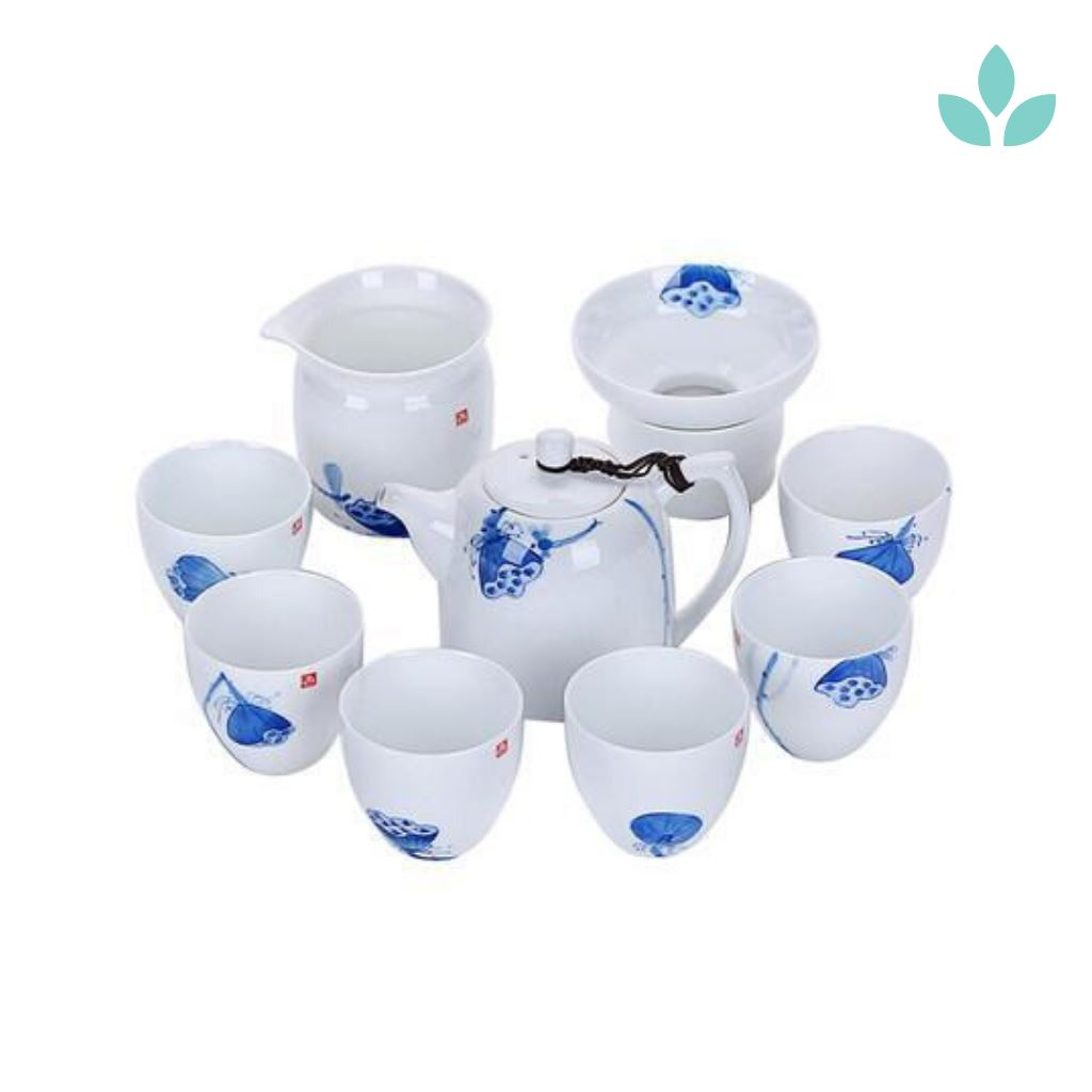 Porcelain Lotus Seed Pod Chinese Tea Set