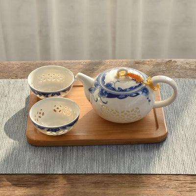 Porcelain Oriental Teapot with 2 Cups-Style A-TopicTea