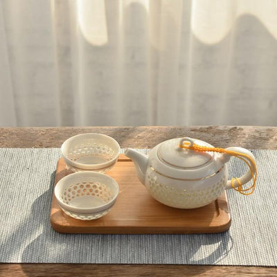 Porcelain Oriental Teapot with 2 Cups-Style E-TopicTea