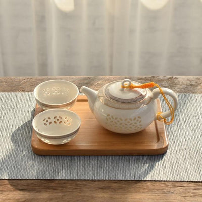Porcelain Oriental Teapot with 2 Cups-Style D-TopicTea