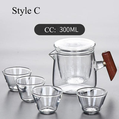 Portable Glass Tea Set with Carrying Case-Style C-TopicTea