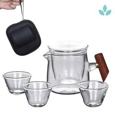 Portable Glass Tea Set with Carrying Case