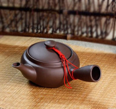 Purple Clay Japanese Yokode Kyusu Teapot with Side Handle
