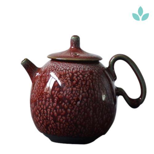 Red Hand Painted Ceramic Teapot