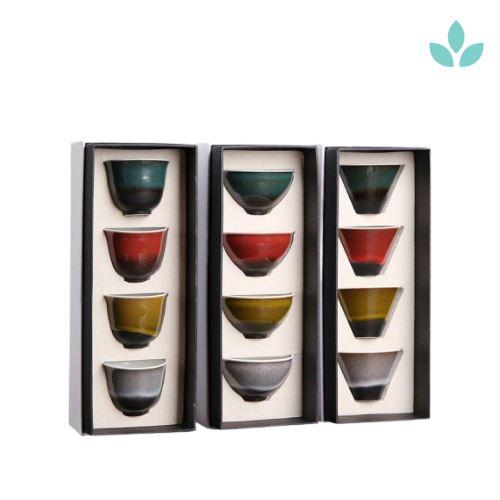 Set of 4 Traditional Colored Kung Fu Tea Cup