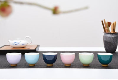 Set of 6 Colored Modern Tea Cups-TopicTea