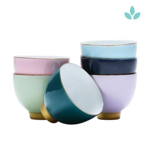 Set of 6 Colored Modern Tea Cups
