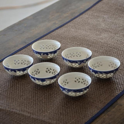 Set of 6 Small Asian Porcelain Tea Cups-Style C-TopicTea