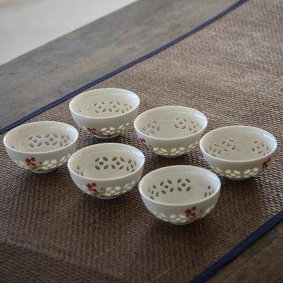 Set of 6 Small Asian Porcelain Tea Cups-Style D-TopicTea
