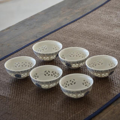 Set of 6 Small Asian Porcelain Tea Cups-Style E-TopicTea