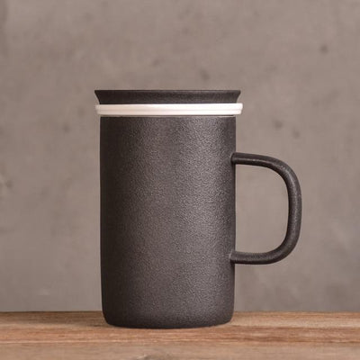 Tall Modern Tea Mug with Infuser-Black-TopicTea