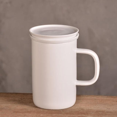 Tall Modern Tea Mug with Infuser-White-TopicTea