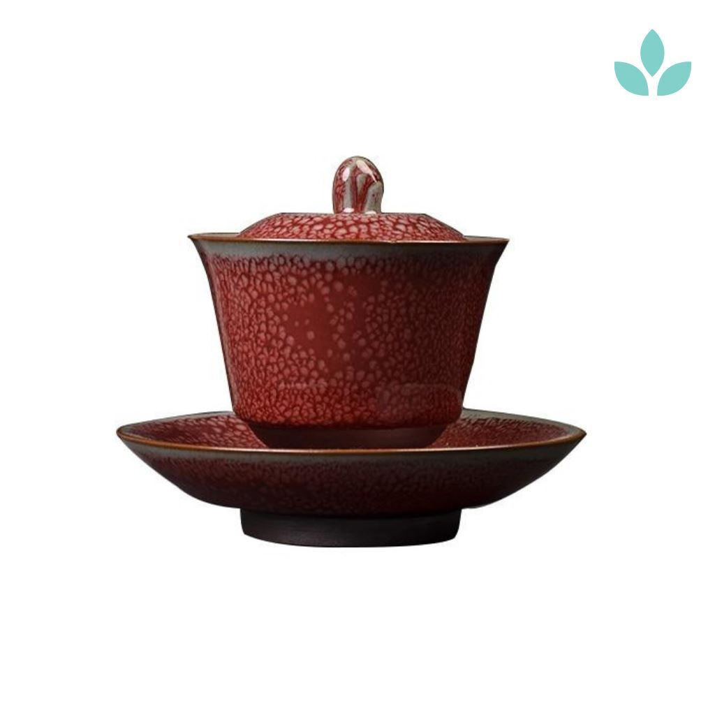 Textured Red Ceramic Gaiwan Tea Brewer and Saucer