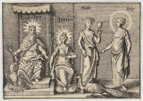 17th century depiction of Greek Mythology. Jupiter, Juno, Hebe and Iris.