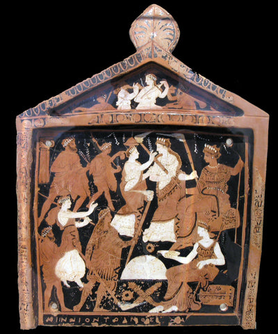 Ancient Greek painting, The Ninnion tablet, depicting The Eleusinian Mysteries. Greek Mythology cult.