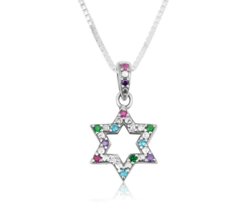Sterling Silver Pendant Necklace Star of David - Colored Crystals