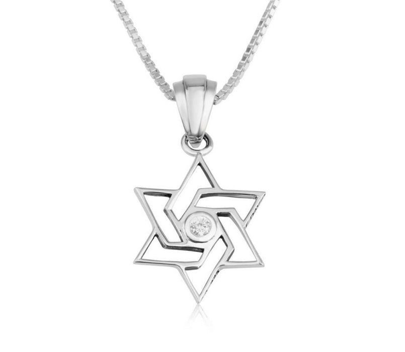 Sterling Silver Pendant Necklace - Angular Star of David with Crystals