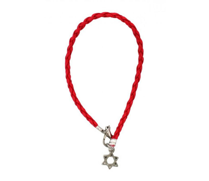 Red Braided Cord Kabbalah Bracelet - Silver Star of David