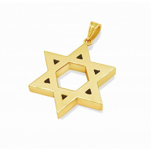 Double Sided 14K Gold Star of David Pendant - Hammered and Smooth Surfaces