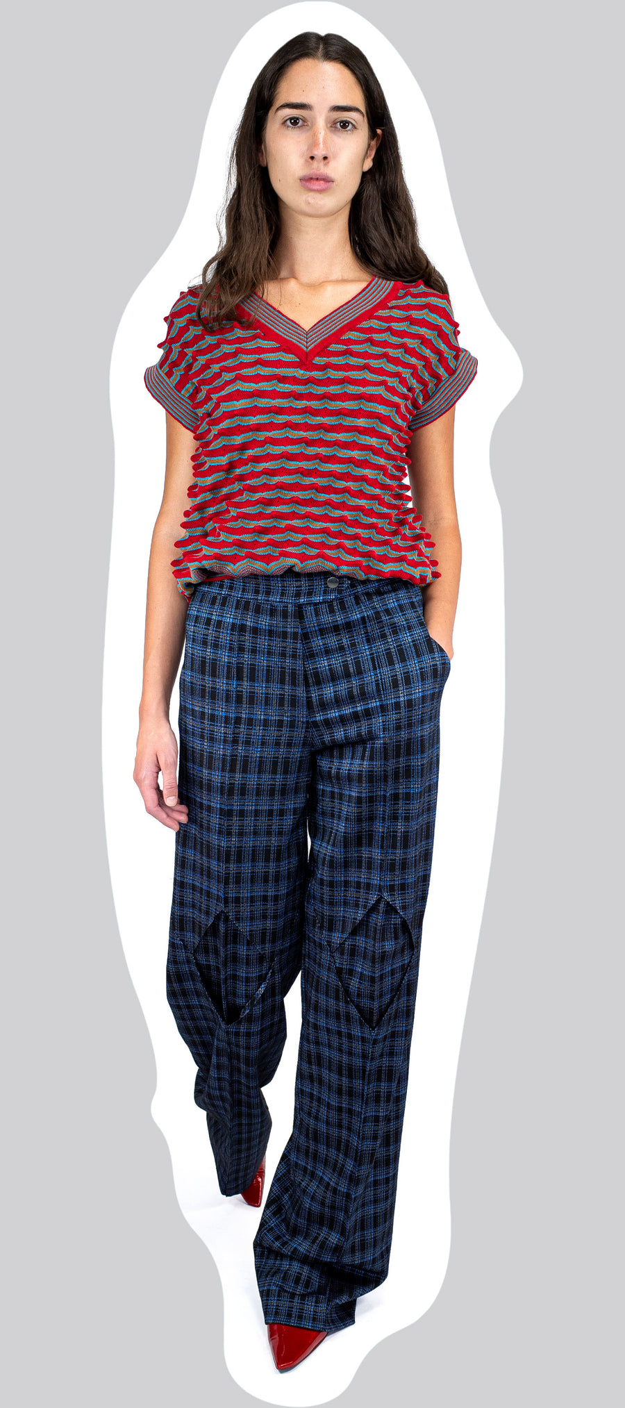 DARTED DIAMOND TROUSER INDIGO TARTAN AW20