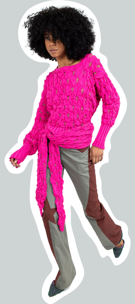 BELLATRIX WRAP JUMPER FAST PINK
