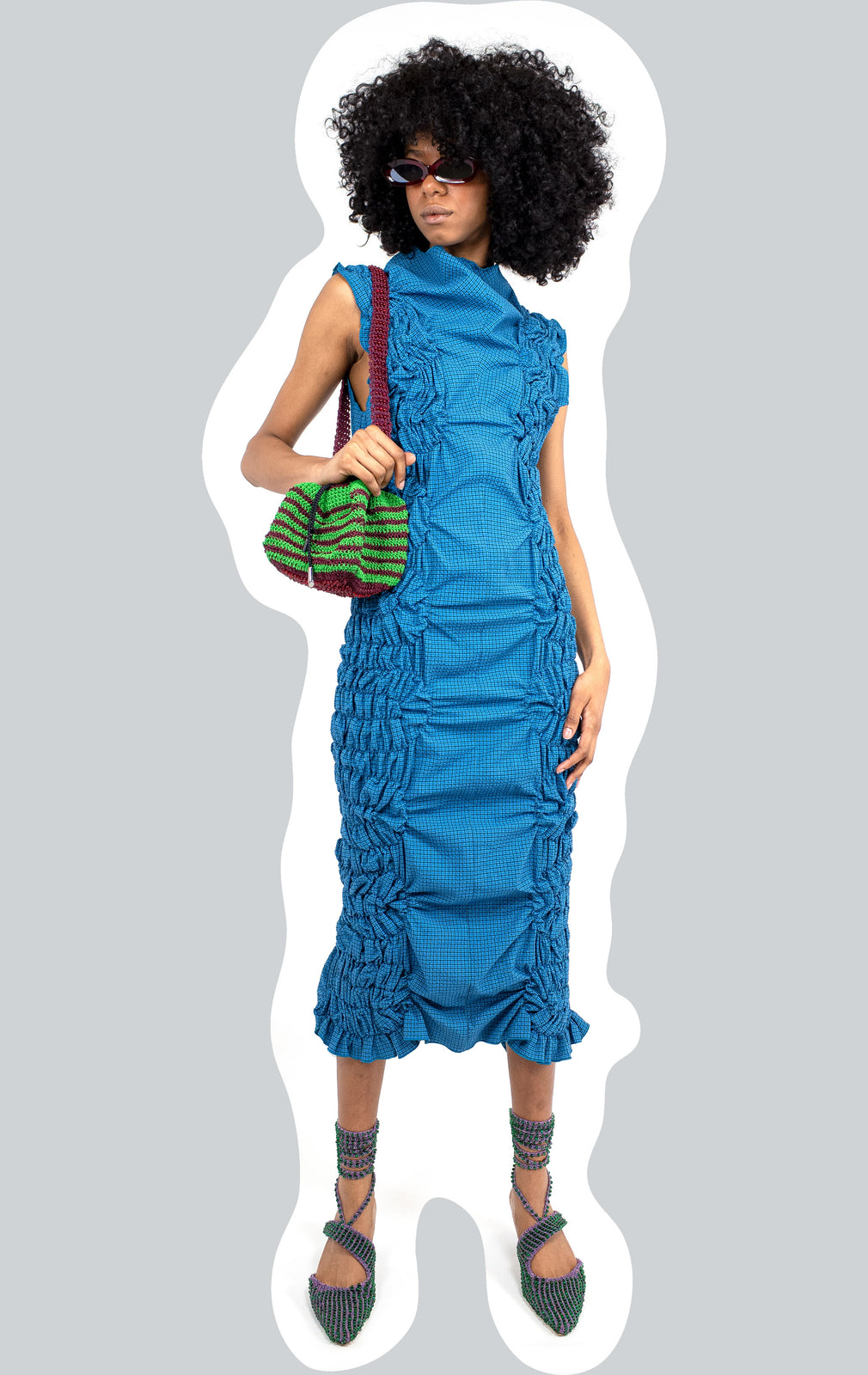 KIKO KOSTADINOV ELLIPSE COLUMN DRESS SAPPHIRE CHECK