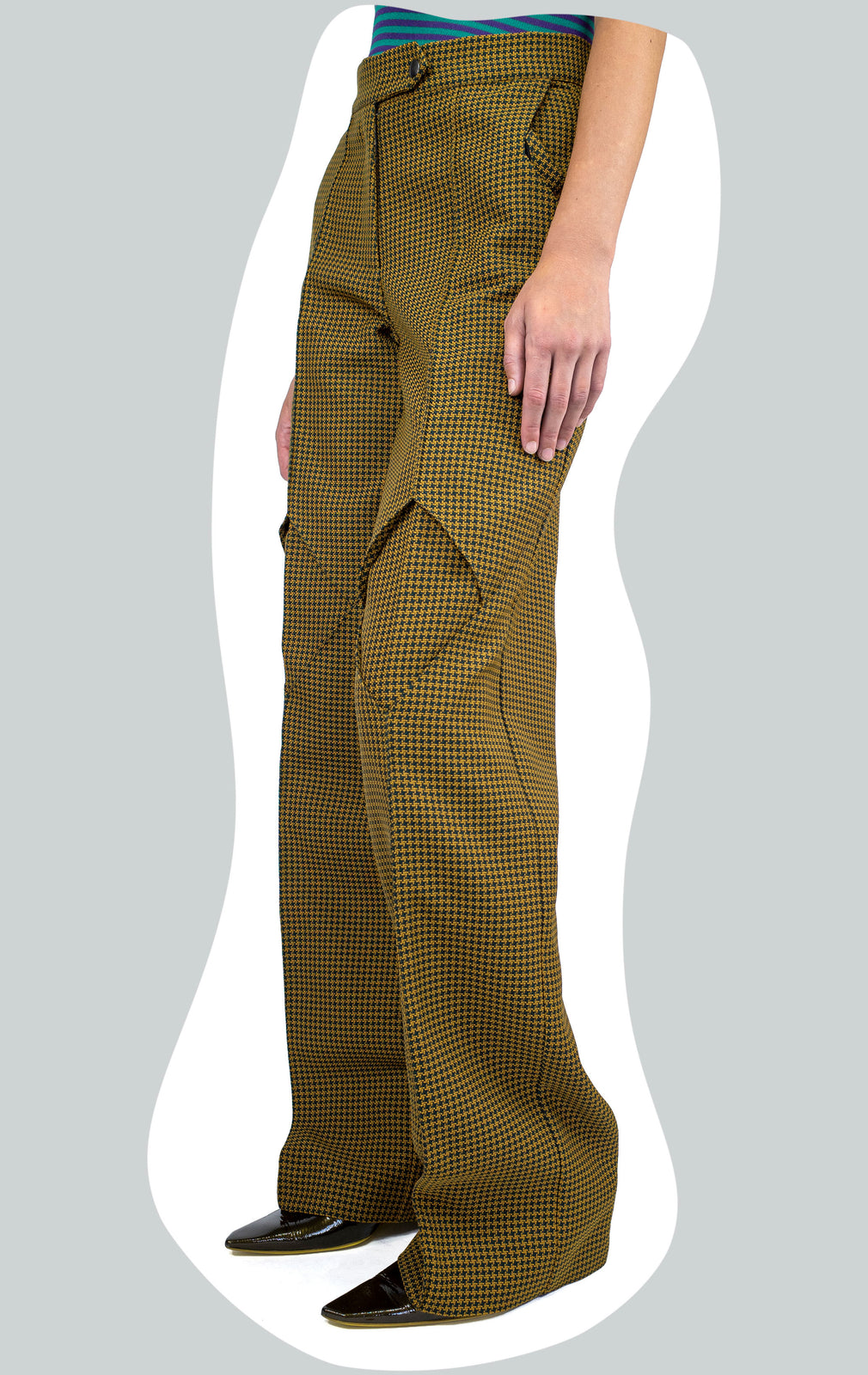 KIKO KOSTADINOV DARTED DIAMOND TROUSER GINGER HUNDSTOOTH AW20