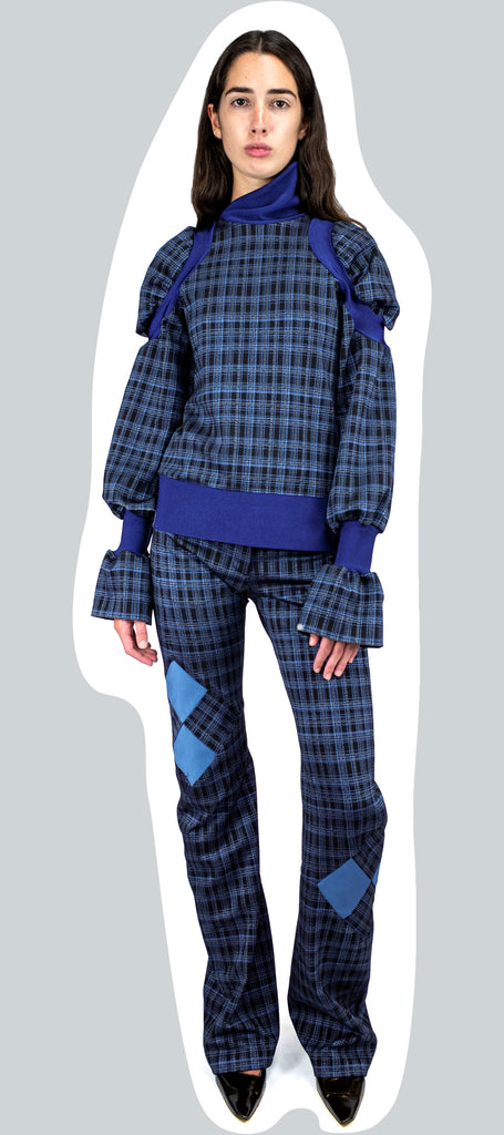 SHOULDER CAP TOP INDIGO TARTAN AW20