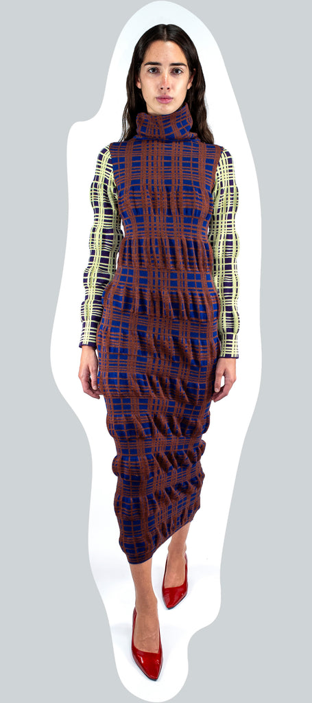 RIBBON TARTAN KNIT COLUMN DRESS AW20