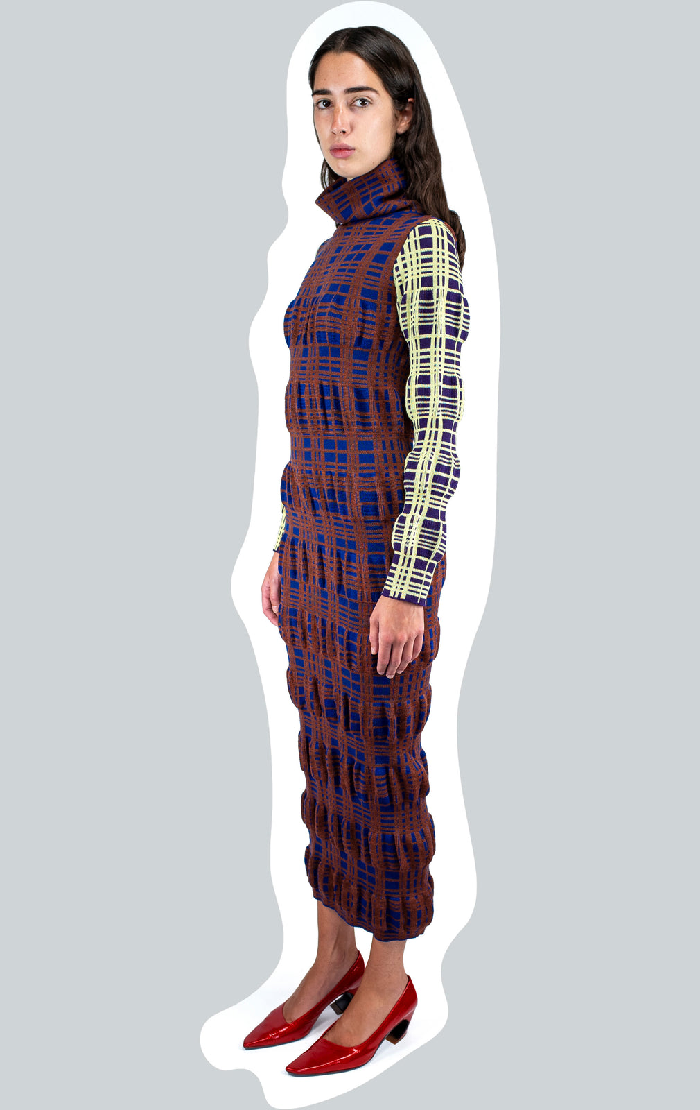 KIKO KOSTADINOV RIBBON TARTAN KNIT COLUMN DRESS AW20