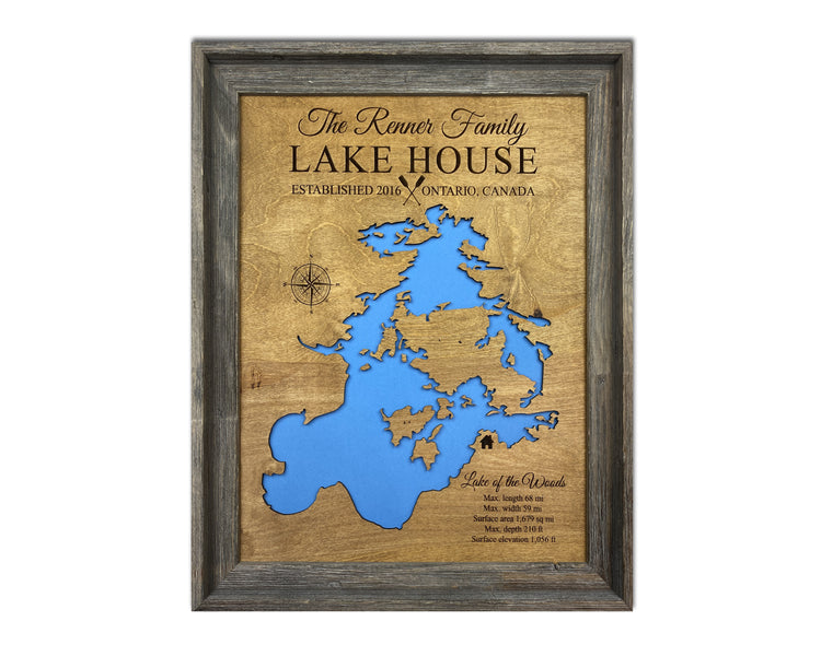 Lake House Decor - Wood Lake Maps
