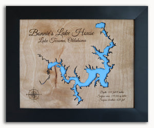 Lake Texoma Map, Texas, Oklahoma, Lake House Decor, Personalized, Cabin Lake Map