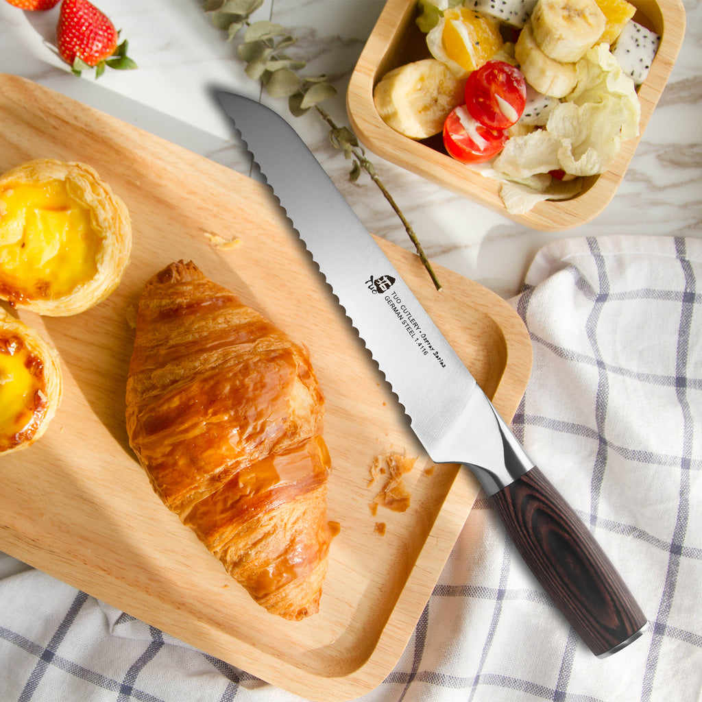 Tuo Cutlery, Bread Knife, Serrated Slicing Knife, Premium High Carbon Stainless Steel, Full Tang, Ergonomics handle, Cuts Thick Loaves Effortlessly, Ideal for Slicing Bread and Cake, Bread Cutter for Homemade Crusty Bread