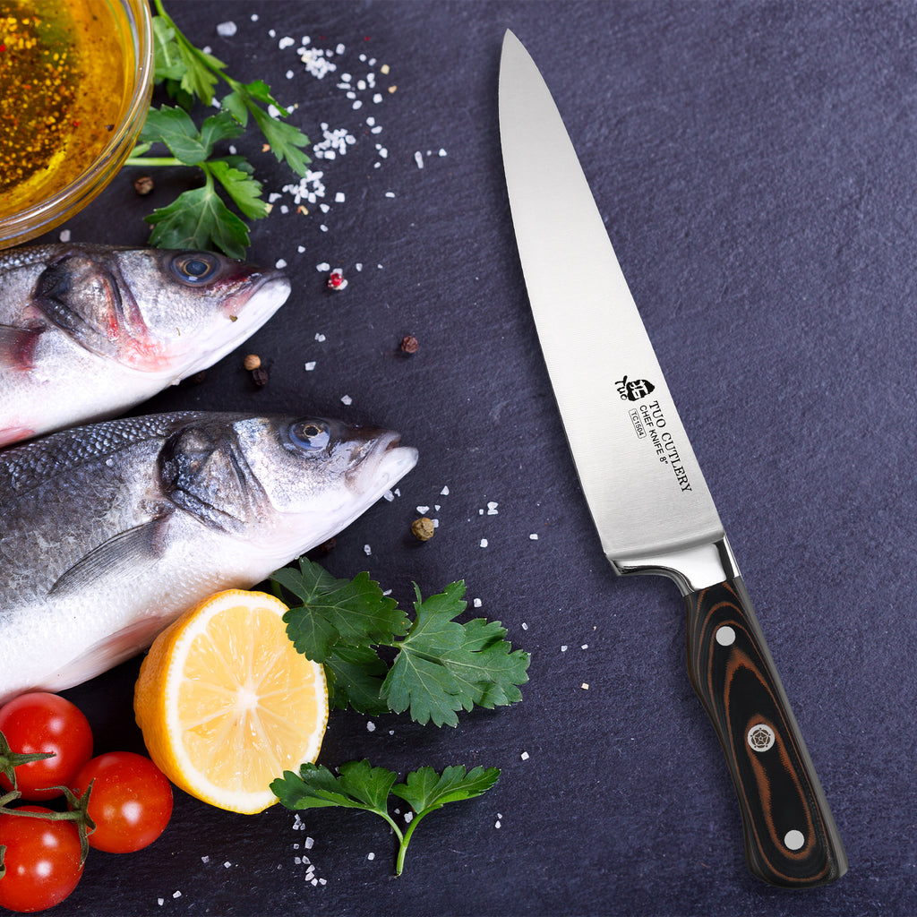 Tuo Cutlery, Professional Chef Knife, Kitchen Knife, High Carbon Stainless Steel, Razor Sharp blade, Gyuto, Full Tang,	Chef's Knife, Pakkawood Handle